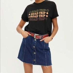 TopShop cropped 'road trip' T-shirt